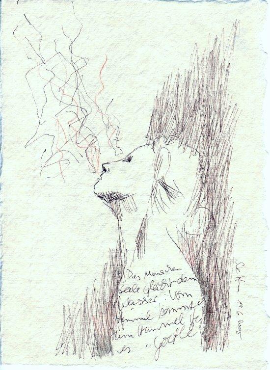 Engel 2- Zeichnung von Susanne Haun von 2005 - Rapidograf und Buntstift