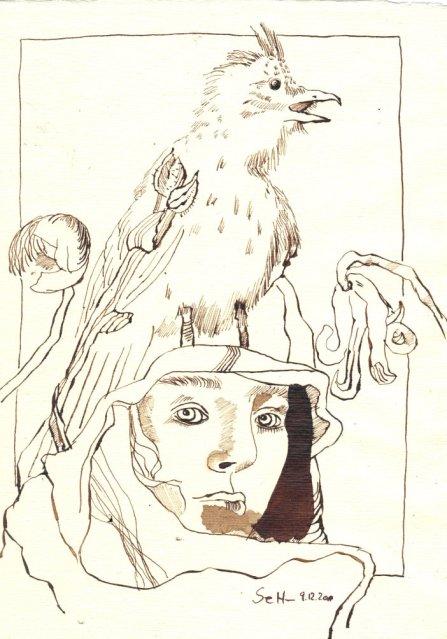 Das Fliegen im Kopf - Zeichnung von Susanne Haun - Tusche auf Bütten - 30 x 20 cm