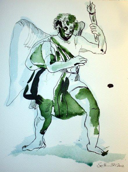 Engel im Kleistpark - Zeichnung von Susanne Haun - 40 x 30 cm - Tusche auf Bütten