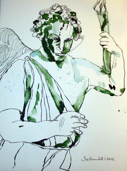 Engel im Kleistpark - Portrait - Zeichnung von Susanne Haun - 40 x 30 cm - Tusche auf Bütten