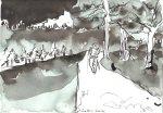 Glühendes Herz und breiter Weg - Zeichnung von Susanne Haun - Sepia auf 17 x 24 cm Burgund Aquarell Bütten