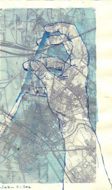 Über Steglitz Version 2 - ÜberZeichnung von Susanne Haun - Tusche auf Bütten - 30 x 20 cm