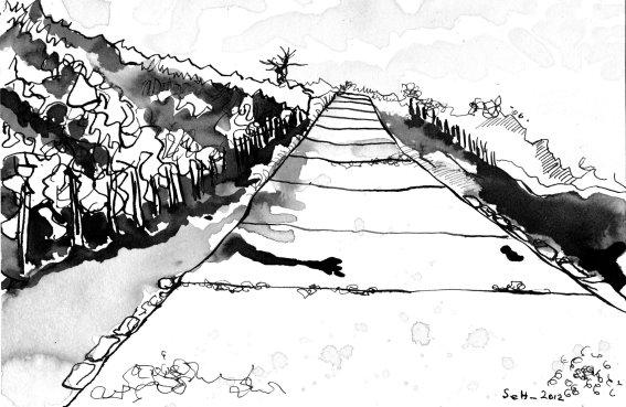 Heller breiter Weg - Zeichnung von Susanne Haun - Sepia auf 17 x 24 cm Burgund Aquarell Bütten
