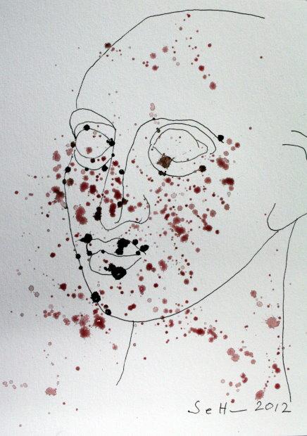 Steinerne Träne Version 1 - Zeichnung von Susanne Haun - 22 x 17 cm - Sepia auf Burgung Aquarellpapier