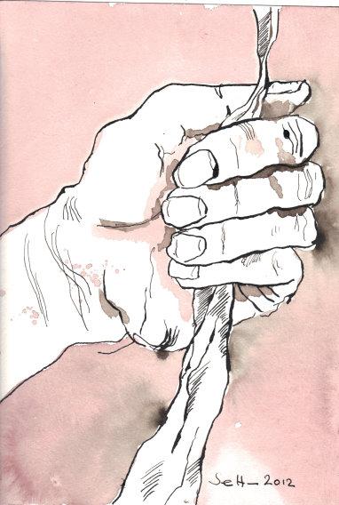 Um das Gute mit der Wurzel auszureißen - Zeichnung von Susanne Haun - Tusche auf Burgund Bütten - 17 x 22 cm