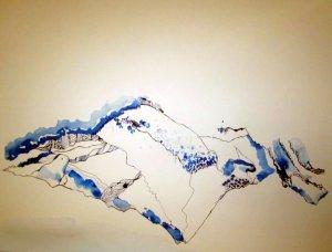 Sehnsuchtsberg verkehrt herum (c) Zeichnung von Susanne Haun