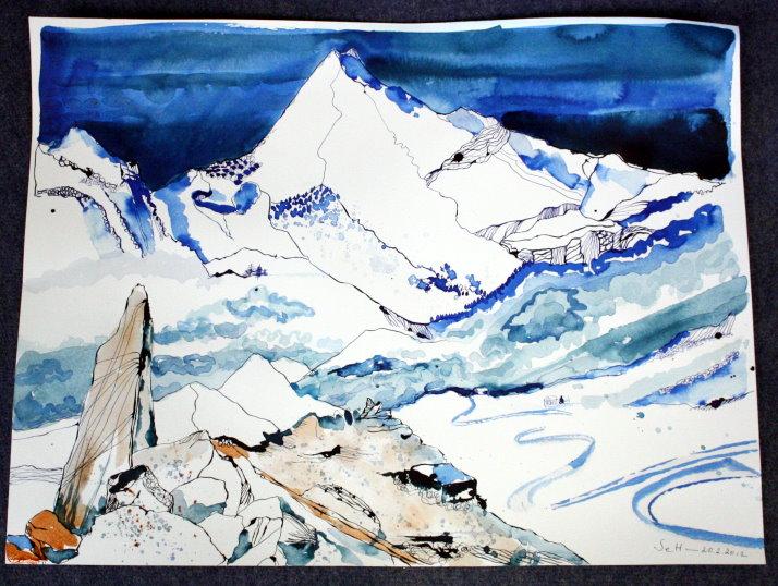 Sehnsuchtsberg (c) Zeichnung von Susanne Haun - 50 x 70 cm - Tusche auf Bütten