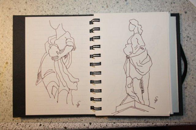 Die Figuren am Gendarmenmarkt (c) Zeichnung von Susanne Haun