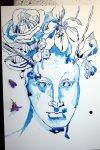 Entstehung Jüngling mit lila Blumen (c) Zeichnung von Susanne Haun