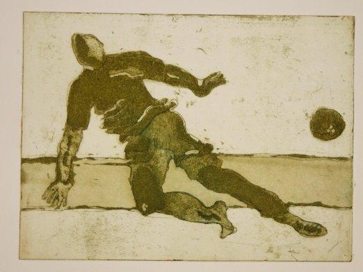 Fußballer oliv (c) Radierungen von Susanne Haun