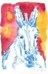 Kolorierter Esel Version 5 (c) Radierung von Susanne Haun
