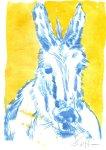 Kolorierter Esel Version 6 (c) Radierung von Susanne Haun