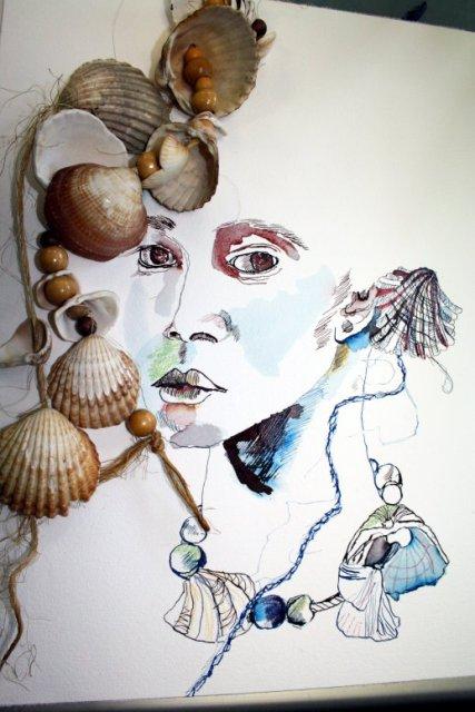 Sternzeichen Wassermann un Muscheln (c) Zeichnung von Susanne Haun