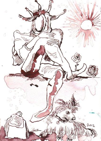 Tarot Karte Der Narr Version 1 , 17 x 13 cm (c) Zeichnung von Susanne Haun
