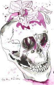 Totenkopf mit Orchideen (c) Zeichnung von Susanne Haun