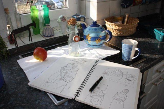 Vanitas Stilleben Rose, Totenkopf und Kanne Nr. 3 - (c) Zeichnung von Susanne Haun
