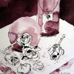 Vanitas Stilleben Vertrocknete Rose (c) Zeichnung von Susanne Haun