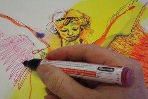 Die Federn der Flügel zeichne ich mit dem mittleren Liner (c) Foto von Susanne Haun