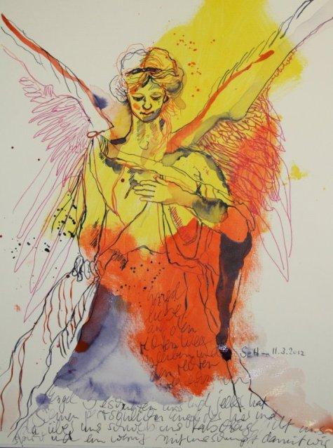 Schutzengel 40 x 30 cm auf Hahnemühle Toscana (c) Zeichnung von Susanne Haun