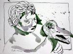 Gänsewürger Version 2 Tusche auf Bütten 23 x 31 cm (c) Zeichnung von Susanen Haun