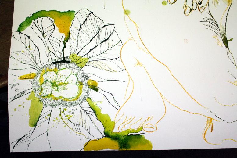 Anemone Detail aus Eldorado gelb - grün (c) Zeichnung von Susanne Haun