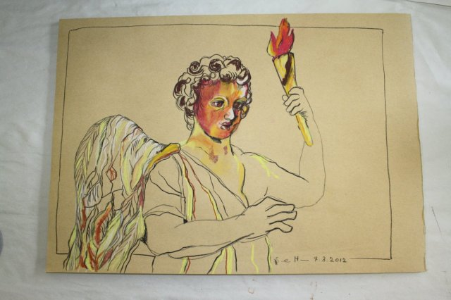 Engel mit Fackel 30 x 40 cm Pastell auf Hahnemühle Kraftpapier (c) Pastell von Susanne Haun