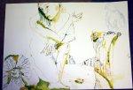 Entstehung Eldorado gelb - grün Tusche auf Bütten 70 x 100 cm (c) Zeichnung von Susanne Haun