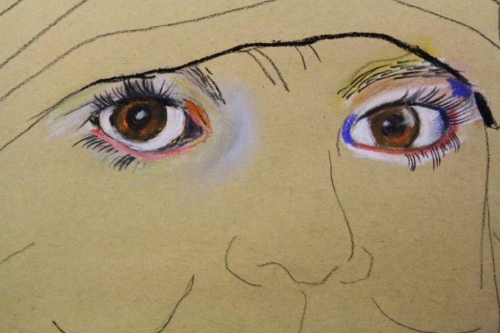 Merles schaut uns an vom Hahnemühle Kraftpapier (c) Pastell von Susanne Haun