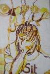 Die Sit 80 x 50 cm Tusche und Gesso auf Leinwand (c) Zeichnung von Susanne Haun