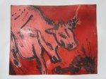 Kuh Kirschrot 20 x 25 cm Aquatinta 2 Platten(c) Radierung von Susanne Haun