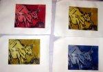 Radierung Kuh in vier Farben (c) Susanne Haun