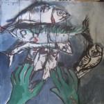 Sortierlauf 30 x 100 cm Tusche und Acryl auf Leinwand (c) Susanne Haun