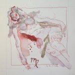 Jungfrau Aquarell und Tusche auf Burgund 20 x 20 cm (c) Zeichnung von Susanne Haun