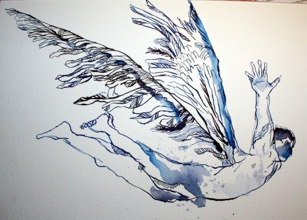 Der Fall des Ikaros 30 x 40 cm Tusche auf Bütten (c) Zeichnung von Susanne Haun