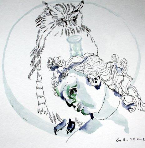 Melancholie 35 x 35 cm Tusche auf Bütten (c) Zeichnung von Susanne Haun