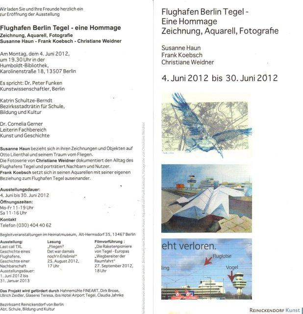 """Einladungskarte """"Flughafen Berlin Tegel - Eine Hommage"""