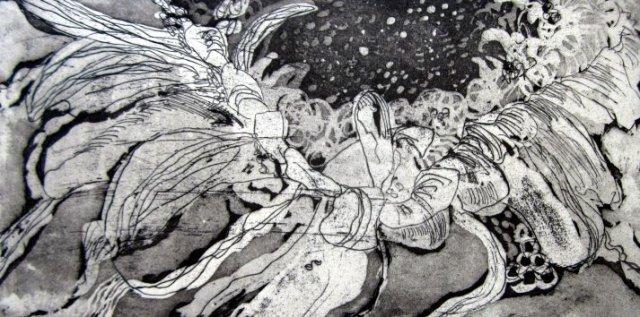 Gerbera - 15 x 30 cm (c) Aquatinta Radierung von Susanne Haun