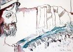 Detail aus Hektor und Priamos und Troja 30 x 40 cm Tusche auf Bütten (c) - Zeichnung von Susanne Haun