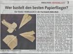 Berliner Abendblatt berichtet über unsere Ausstellung Flughafen Berlin Tegel - Eine Hommage auf Seite 1
