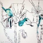 Blauer Mohn Version 1 30 x 30 cm Tusche auf Bütten (c) Zeichnung von Susanne Haun