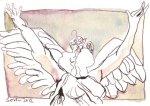 Der Engel tanzt 12 x 17 cm Tusche auf Bütten (c) Zeichnung von Susanne Haun