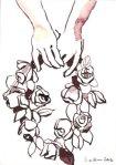 Engel mit Blumen 17 x 12 cm Tusche auf Bütten (c) Zeichnung von Susanne Haun