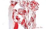 Engelskopf 12 x 17 cm Tusche auf Bütten (c) Zeichnung von Susanne Haun