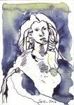 Gezeichnete Gedanken zum Schiller Denkmal 14,8 x 10,5 cm Tusche auf Bütten (c) Zeichnung von Susanne Haun