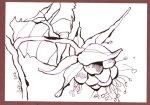 Himbeeren 12 x 17 cm Tusche auf Bütten (c) Zeichnung von Susanne Haun