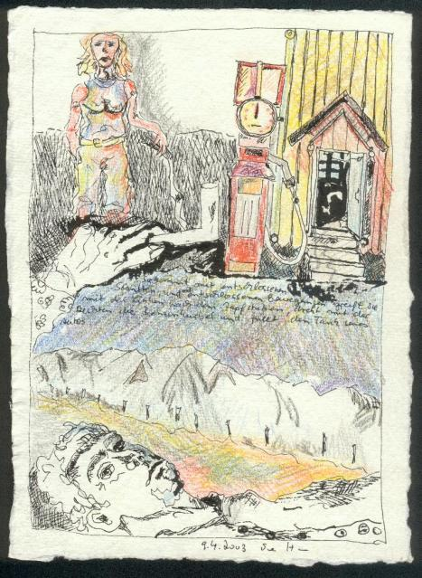2003, Im Traum, 20 x 15 cm , Rapidograph und Buntstift auf Bütten (c) Zeichnung von Susanne Haun