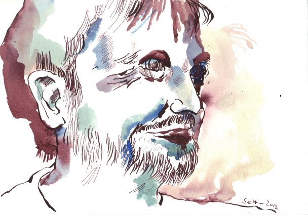 Mein Sinnbild von Schlingensief 17 x 22 cm Tusche auf Bütten (c) Zeichnung von Susanne Haun