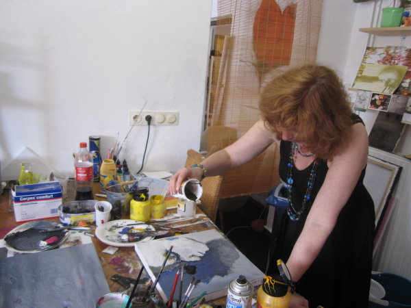 Schön mal wieder Acryl zu malen (c) Foto von Conny Niehoff