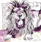 Sternzeichen Brüllender Löwe, Tusche auf Bütten, 20 x 20 cm (c) Zeichnung von Susanne Haun
