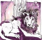 Sternzeichen Ruhiger Löwe, Tusche auf Bütten, 20 x 20 cm (c) Zeichnung von Susanne Haun